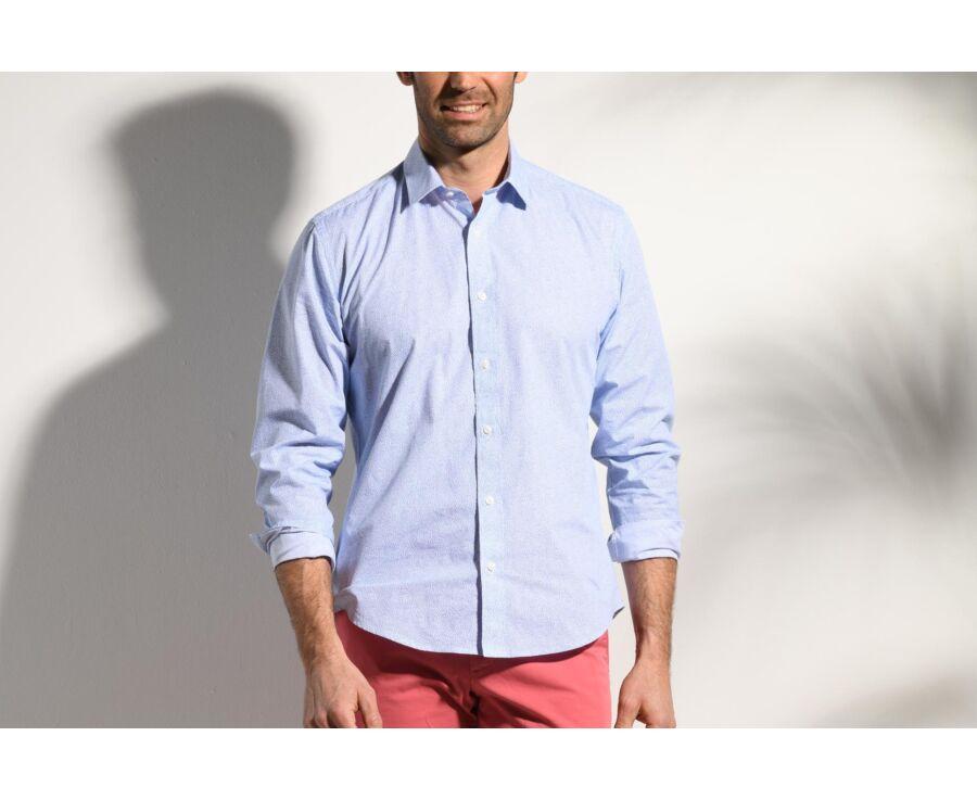 Chemise coton blanche imprimée motifs bleus - Col français - THIBERT