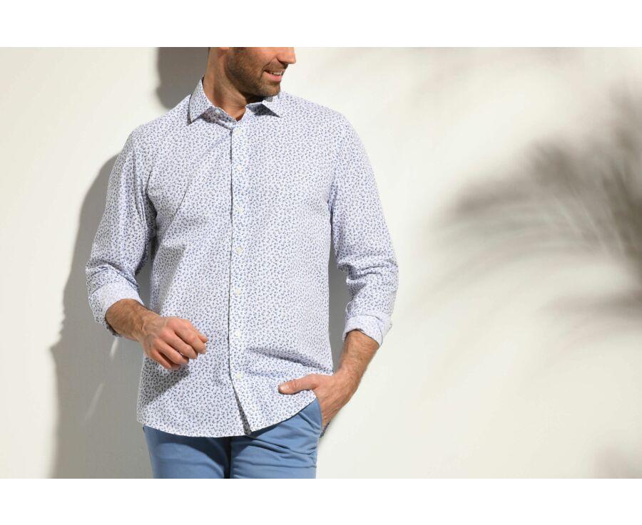 Chemise blanche imprimée fleurs bleues - Col français - MATHURIN