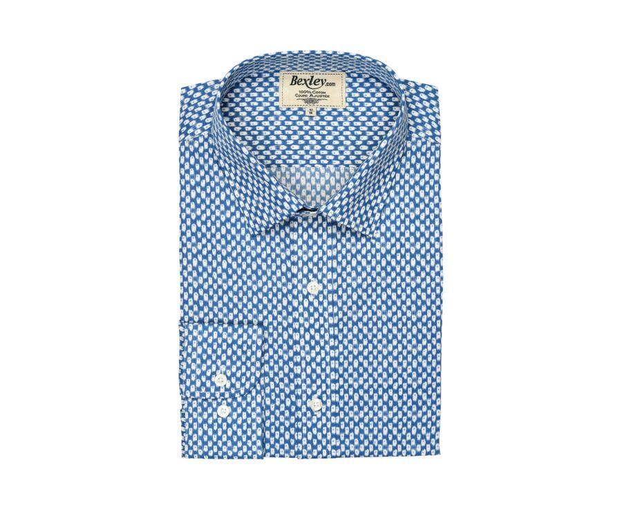 Chemise bleue coton imprimée motifs blancs - SÉRAPHIN