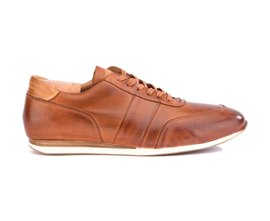 Sneakers Châtaigne Patiné cuir homme - BUCKENDERRA