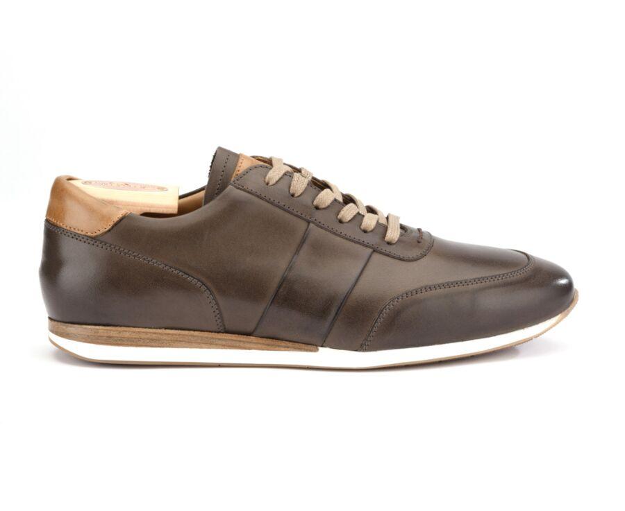 Sneakers Taupe Patiné cuir homme - BUCKENDERRA