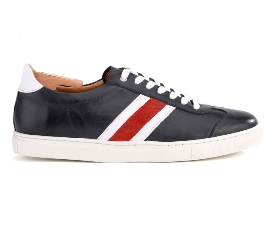 Sneakers homme cuir Navy Patiné - MAYWOOD