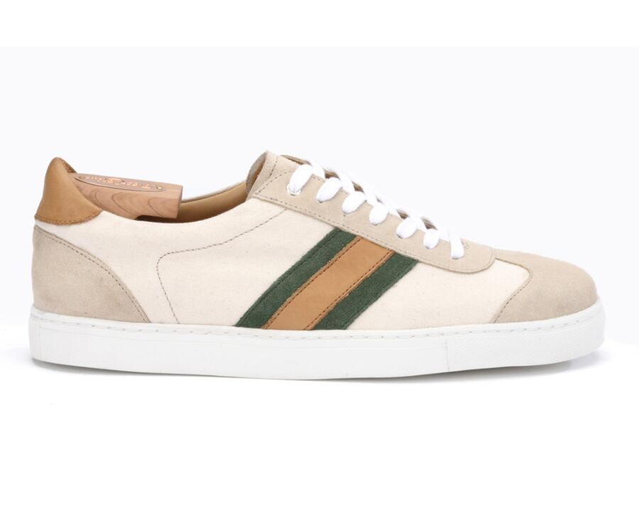 Sneakers homme Velours Beige et Toile - MAYWOOD
