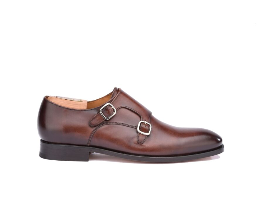 Chaussures homme double boucle Chocolat Patiné - CHIGWELL