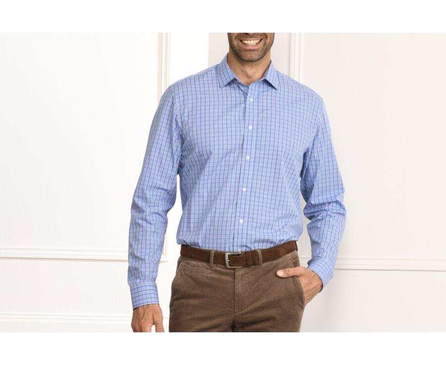 Chemise bleue à carreaux - Col français - GONZAGUE