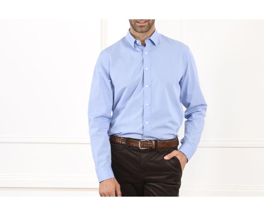 Chemise coton bleue petits carreaux blancs - CORNELIUS