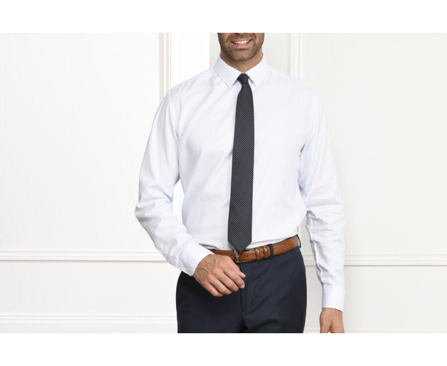 Chemise blanche coton popeline tramée - FIACRE