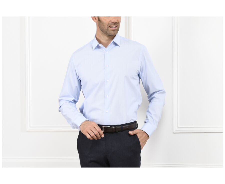 Chemise blanche à rayures bleues - ANSELME