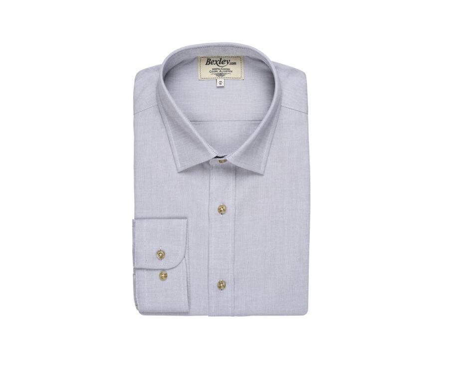 Chemise Oxford coton gris clair et blanc - EVRARD