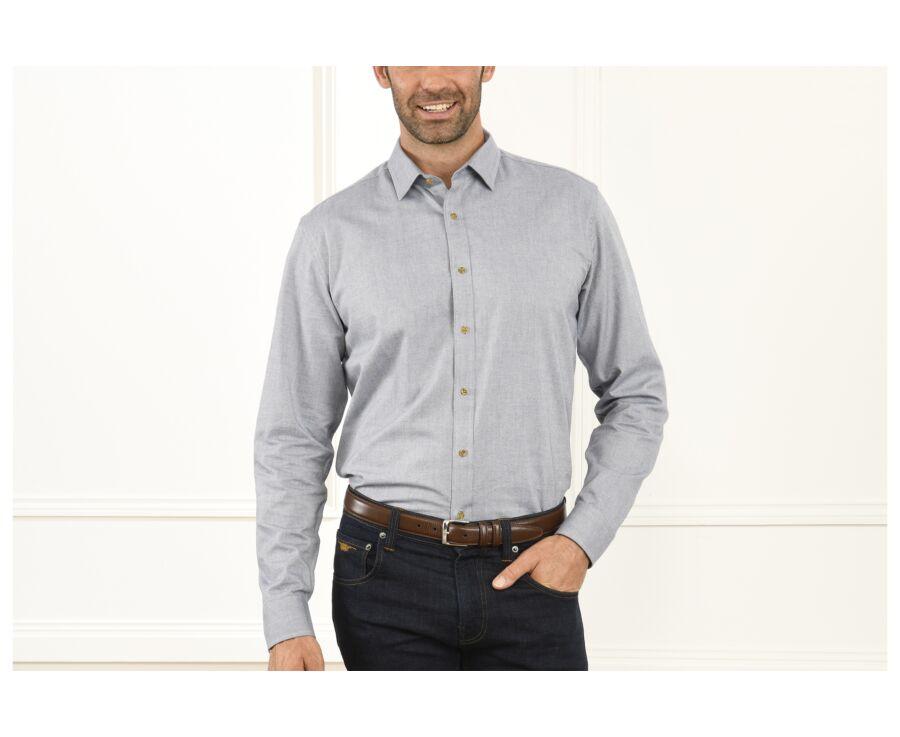Chemise Oxford coton bleu gris clair - EVRARD