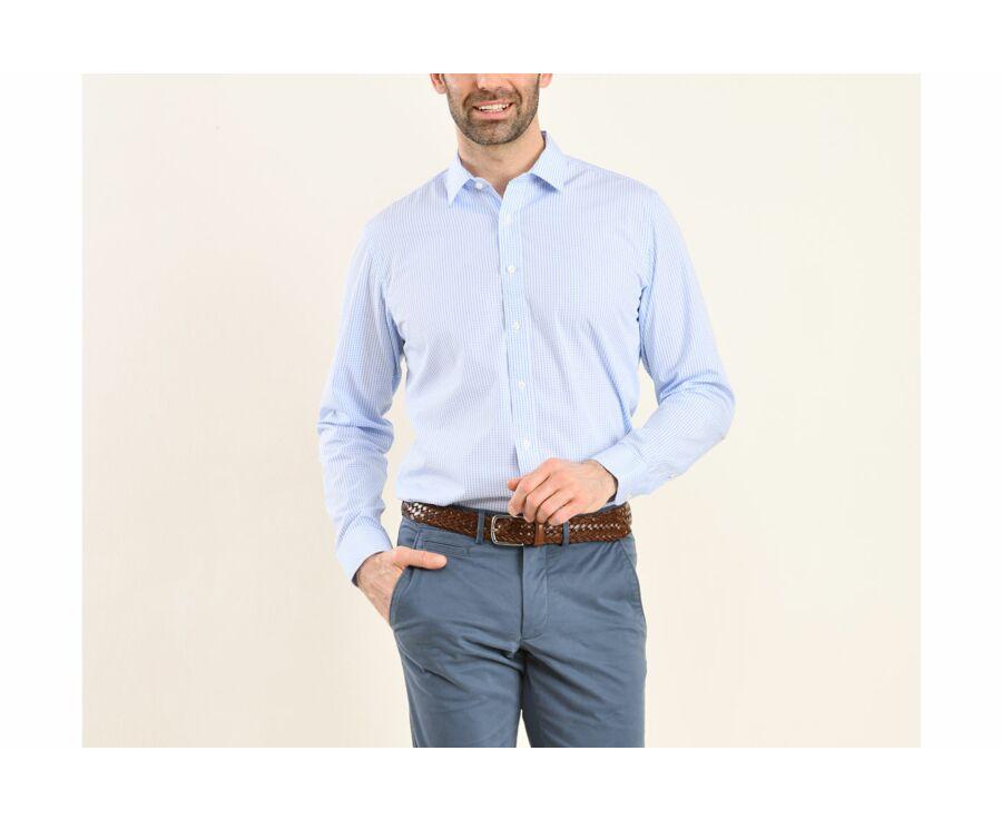 Chemise blanche à carreaux bleus clairs - Col français - ALFIERO