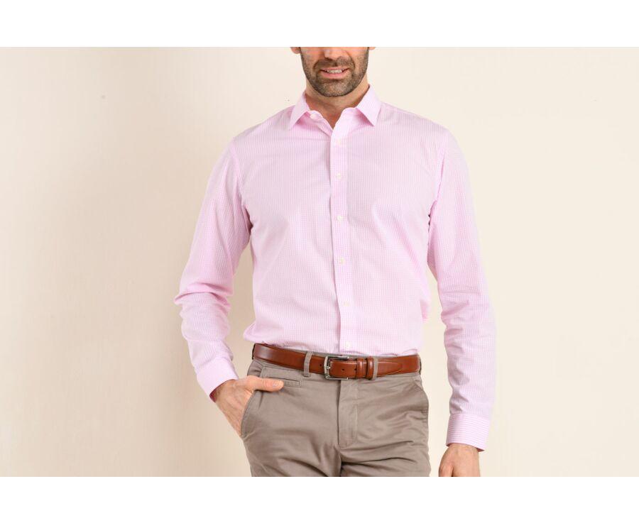 Chemise blanche à carreaux roses - Col français - ALFIERO