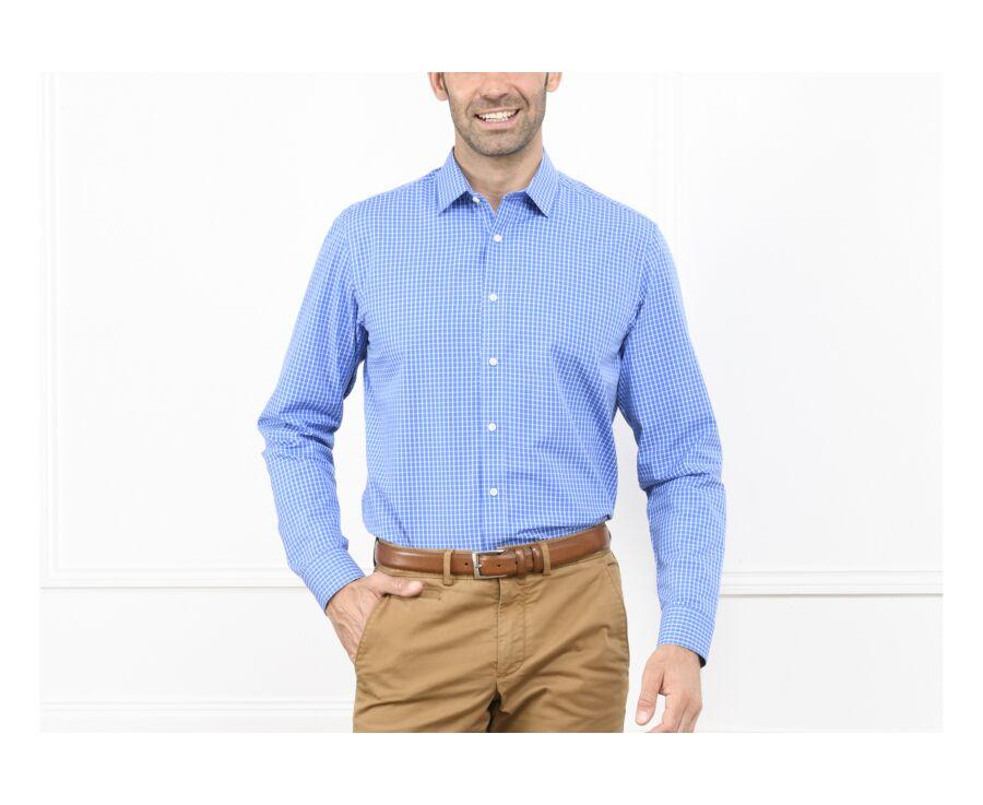 Chemise bleue carreaux blancs - Col français - GRACIEN
