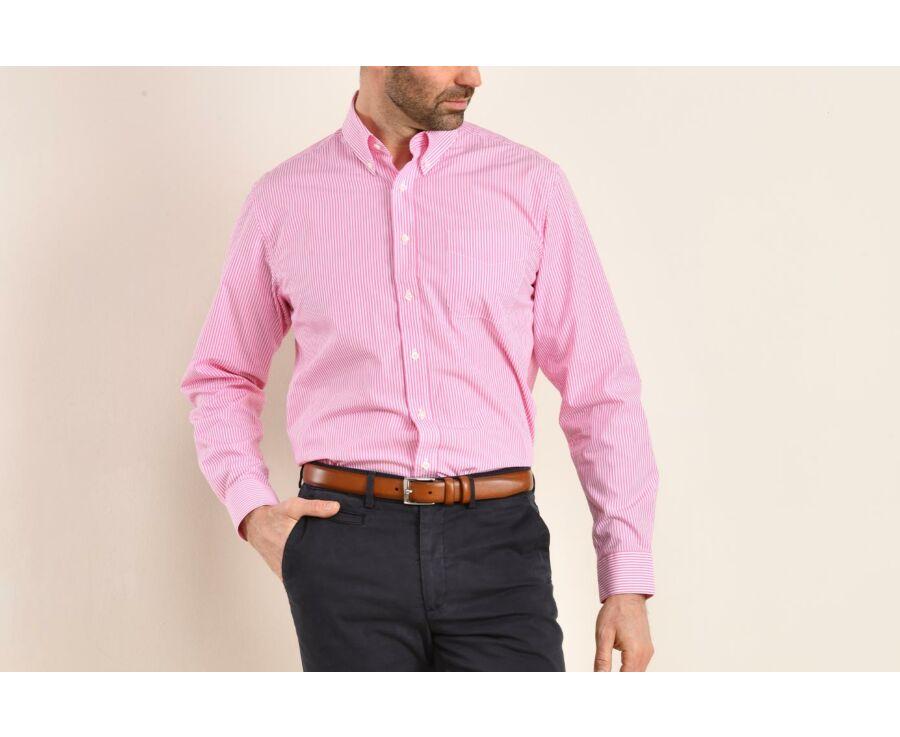 Chemise coton rayures roses - Col américain - MARLON