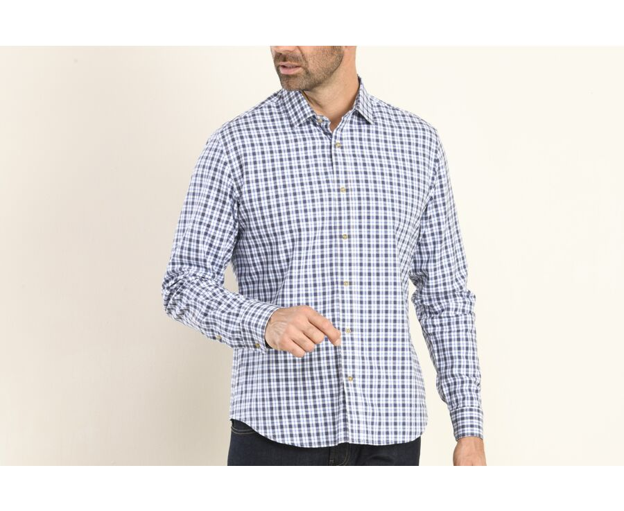 Chemise flanelle à carreaux marine et bleus - EDMOND