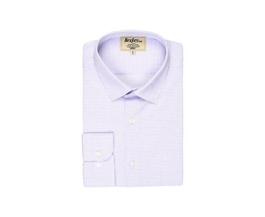 Chemise blanche twill carreaux fins parme - SILVERO