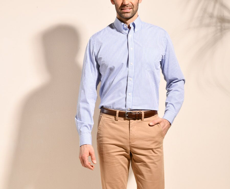Chemise coton blanche à carreaux bleus - Poche - SCOTT