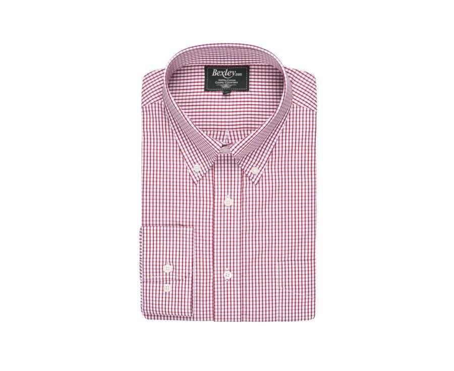 Chemise coton blanche carreaux rouge - Poche - SCOTT