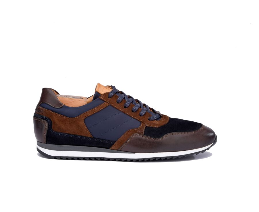 Corunna Chocolate and Navy suede