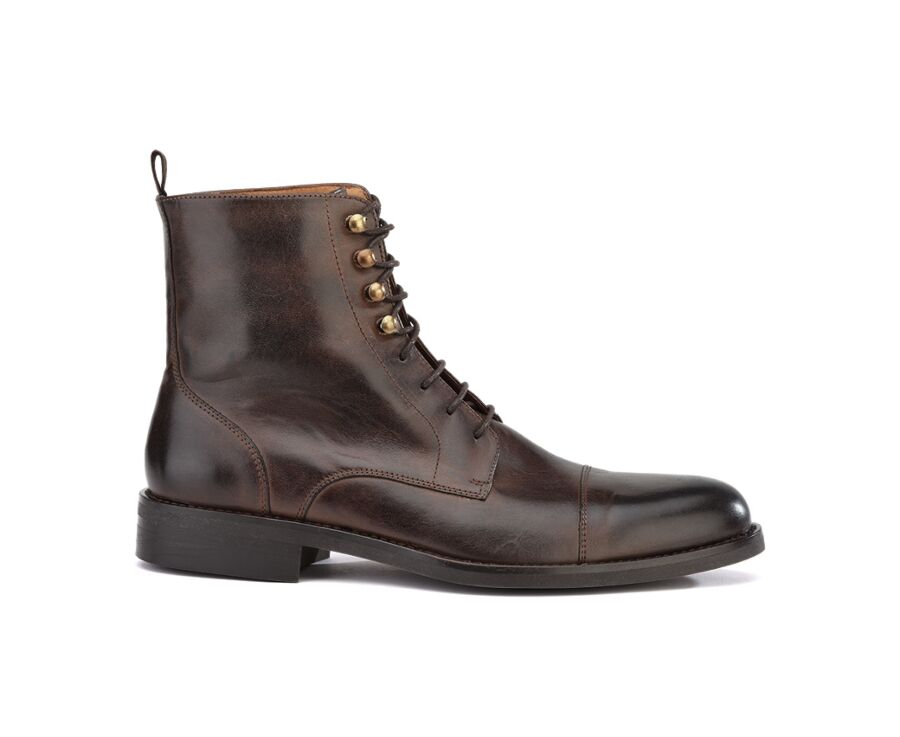Derby boots homme à lacets Chocolat patiné - ENFIELD II GOMME CITY