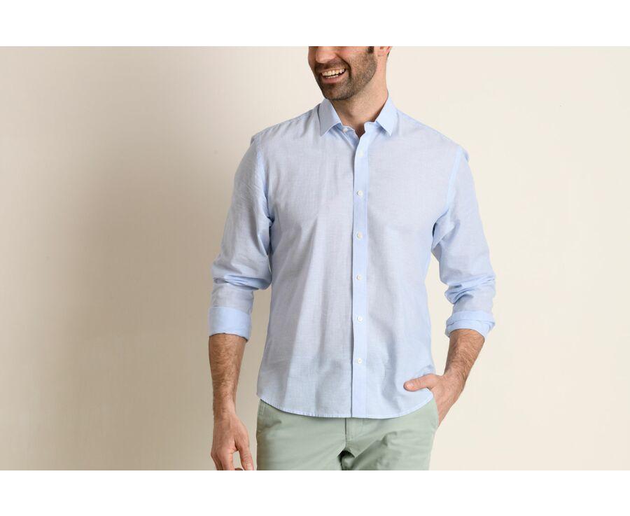Chemise coton et lin rayée bleu et blanc - CLÉBERT