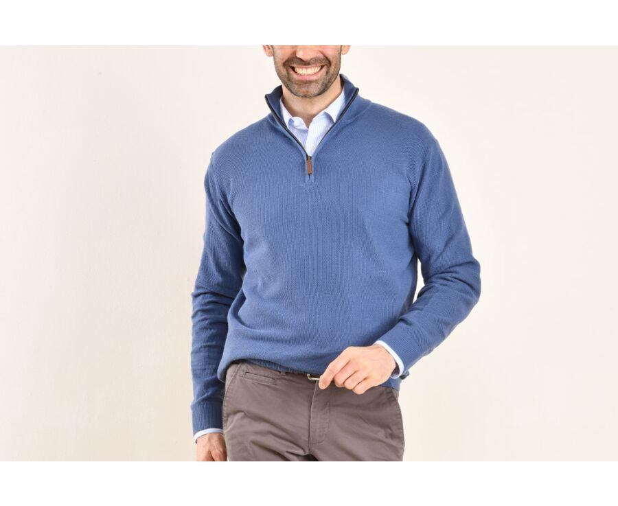 Pull coton homme Bleu Royal col zippé - KARANTEC