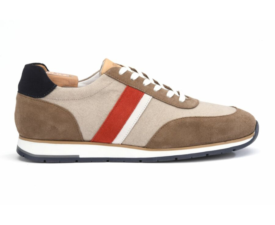 Sneakers homme Velours Taupe et Rouge - MARKWOOD