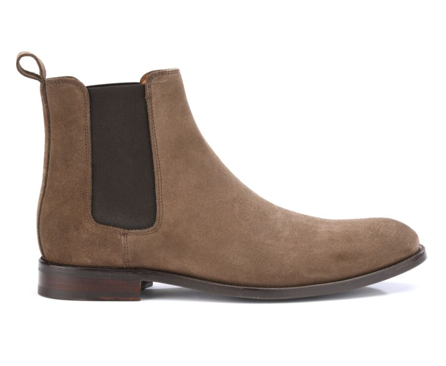 Chelsea boots homme Velours Taupe - DAWSON II GOMME