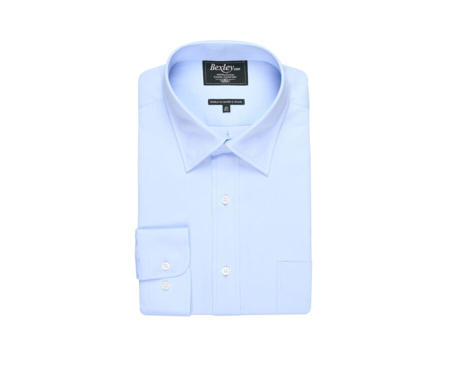 Chemise bleue pâle coton twill - GILDAS