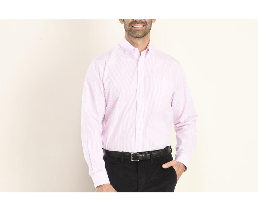 Chemise à fines rayures roses poche poitrine - CLINTON