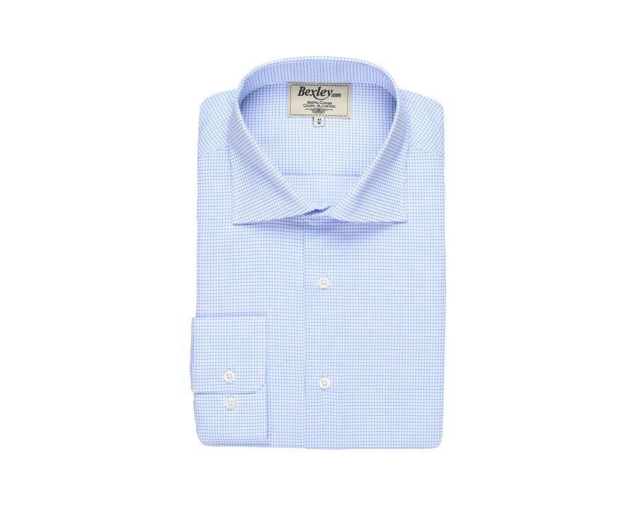 Chemise blanche à petits carreaux bleus - SALVATORE