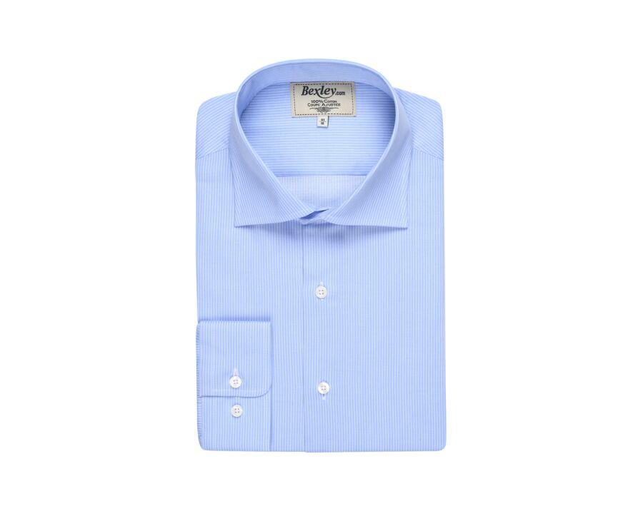 Chemise bleue rayée blanche - Col italien - AMEDEO