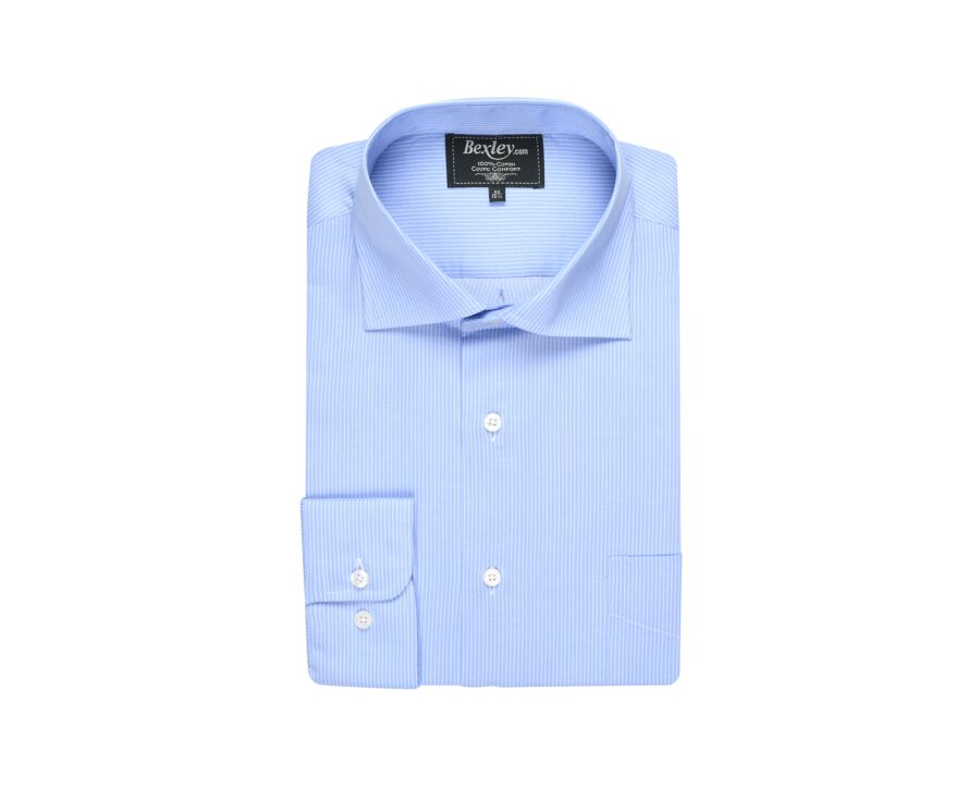 Chemise bleue rayée blanche - Col italien - SERAFINO