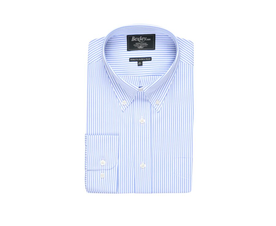 Chemise blanche rayures bleues poche poitrine - BRODERICK