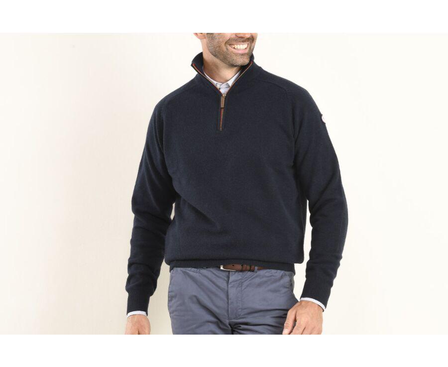 Pull homme laine col zippé Bleu Marine - KENNY