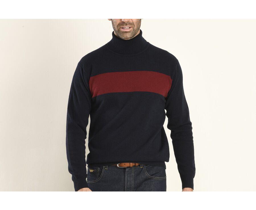 Pull homme laine col roulé Bleu Marine et Rouge Foncé - EMERY
