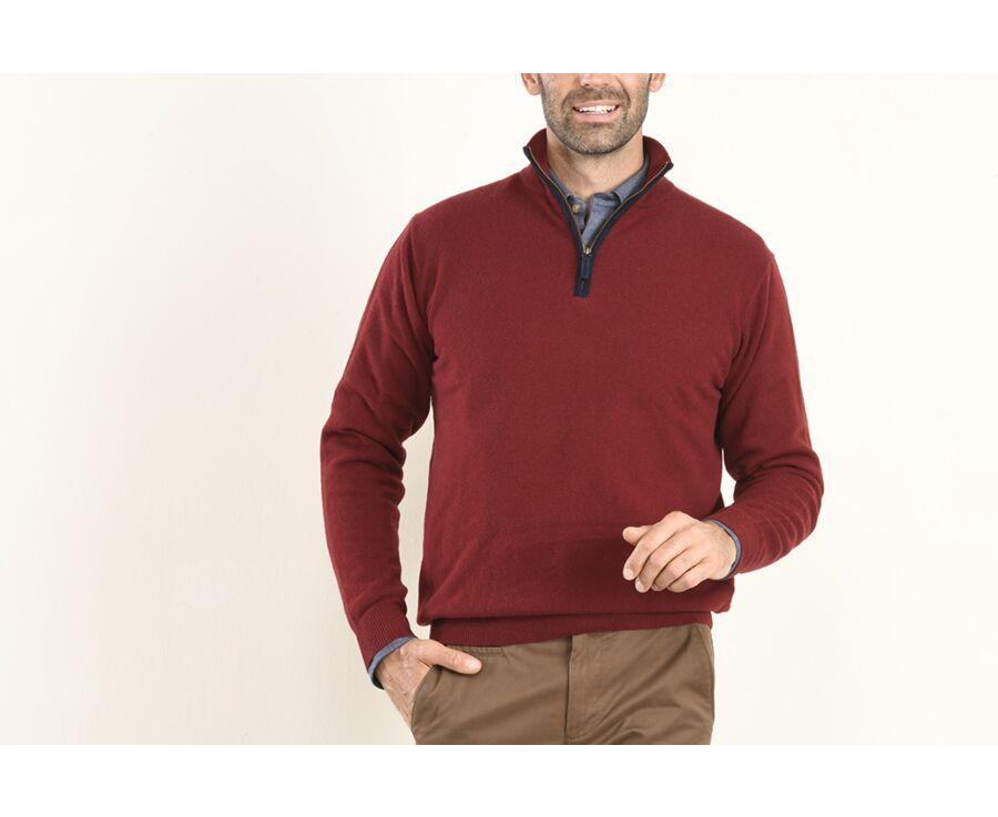 Pull homme laine col zippé Rouge Sombre - KEITHY
