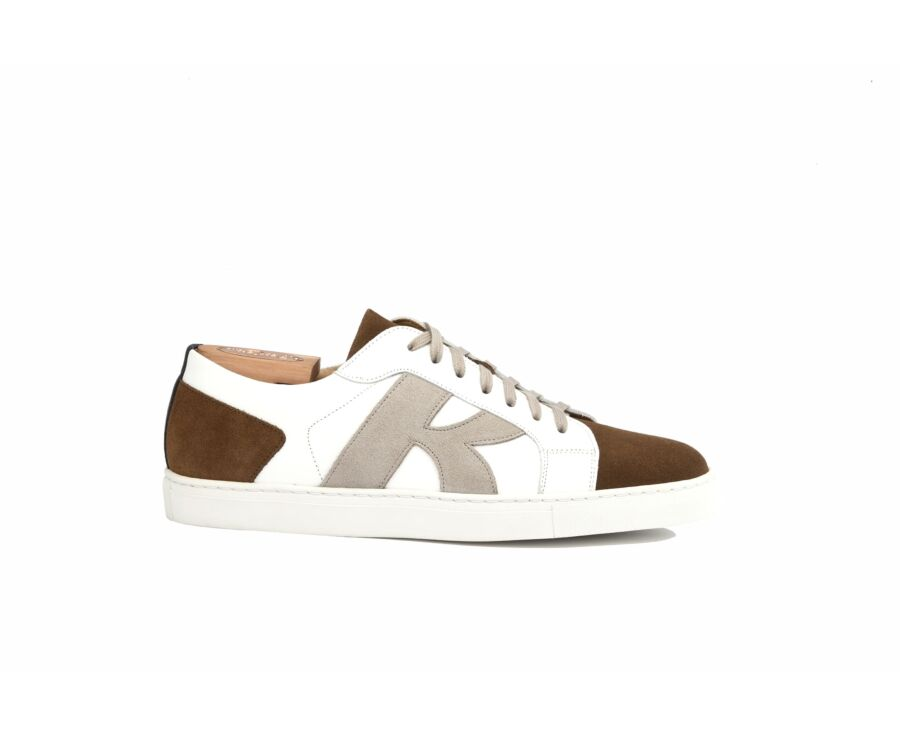 Brentwood White and Cognac suede