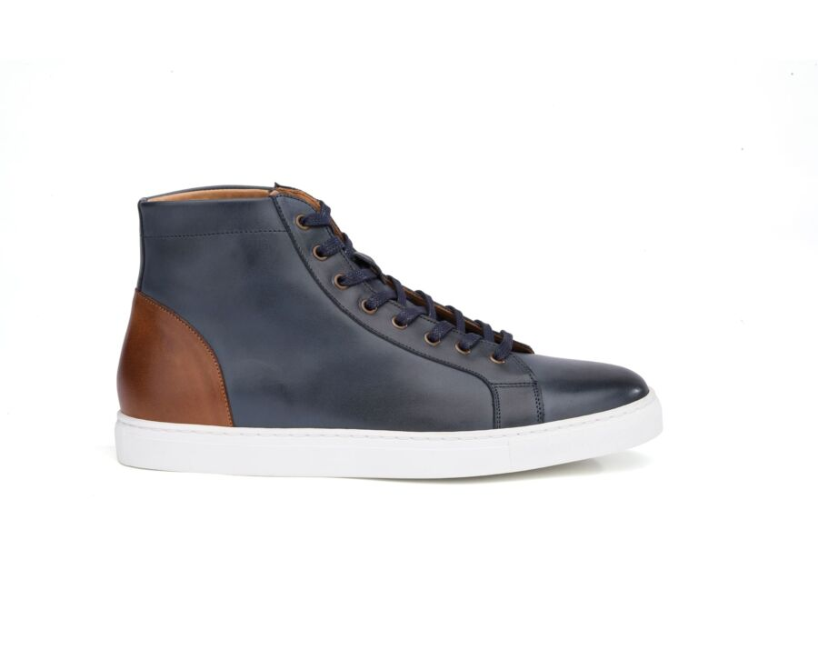 Sneakers montantes homme cuir Navy Patiné - HAWTHORNE