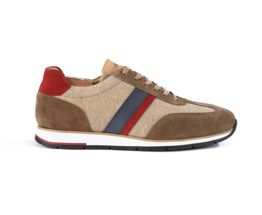 Melinga Taupe suede and Red