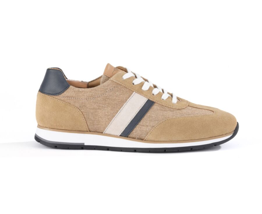 Melinga Beige suede and Navy