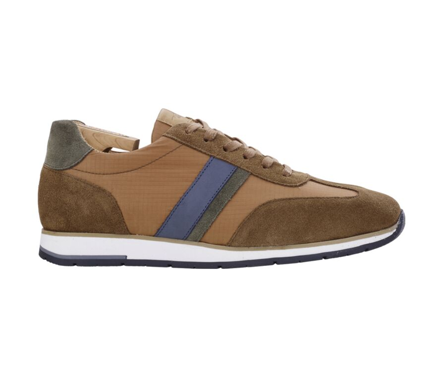 Sneakers homme Velours Cognac et Vert - MELINGA