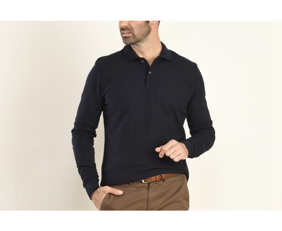 Polo manches longues homme Marine - ANDY II ML