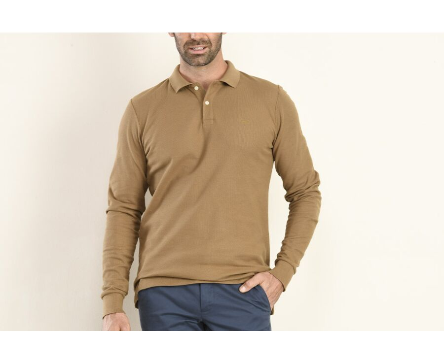 Polo manches longues homme Camel - ANDY II ML