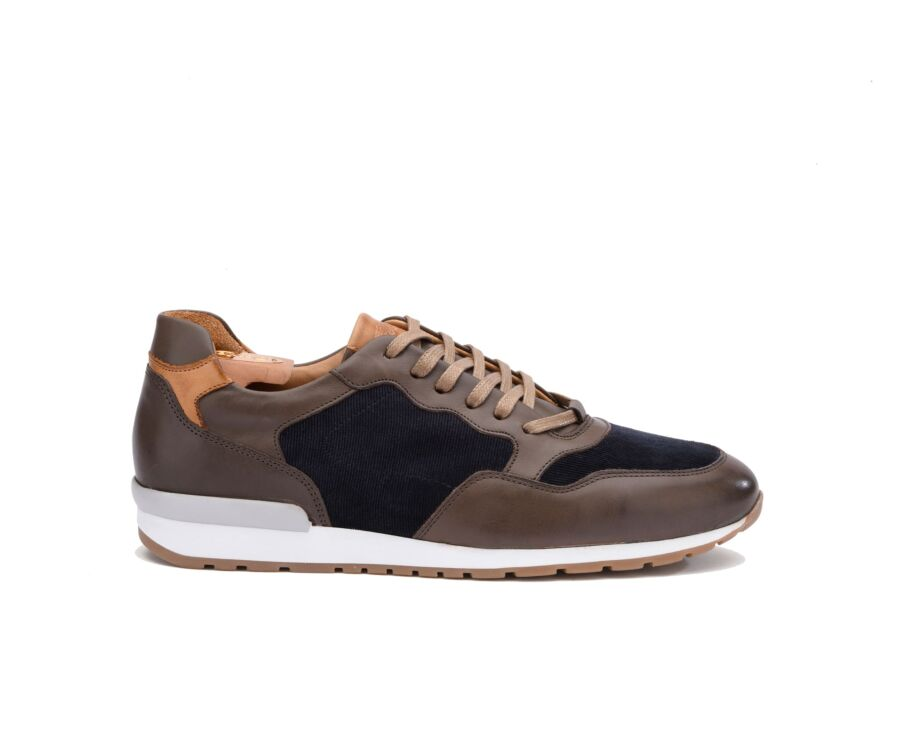 Sneakers homme Taupe Patiné et Velours Marine - CANBERRA II