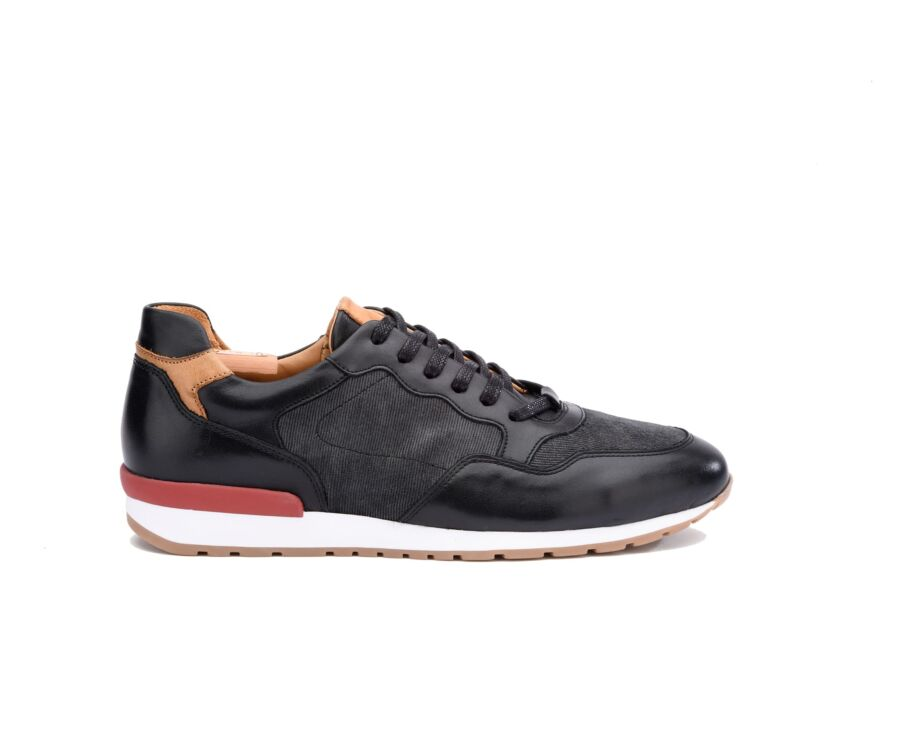 Sneakers homme Noir Patiné et Velours Anthracite - CANBERRA II