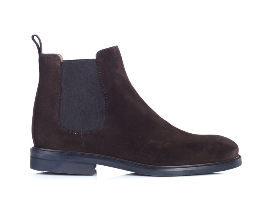 Chelsea boots cuir pull up homme Velours brun - FANGLER GOMME CITY
