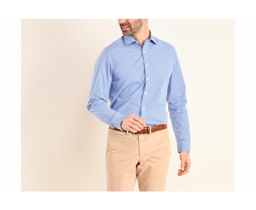Chemise coton blanc à carreaux bleus clairs et blancs - RUGGERO