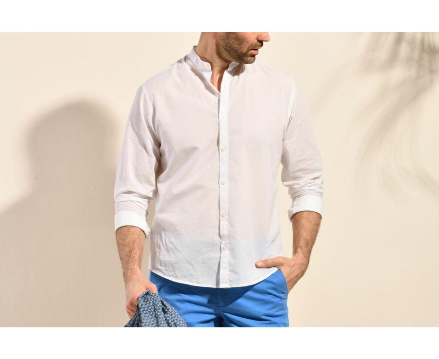 Chemise coton lin blanche unie - ELIBERT