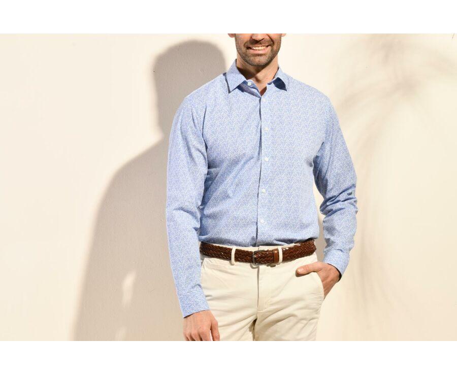 Chemise coton blanche à imprimé fleuri bleu - SULPICE